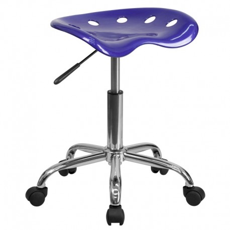 MFO Vibrant Deep Blue Tractor Seat and Chrome Stool