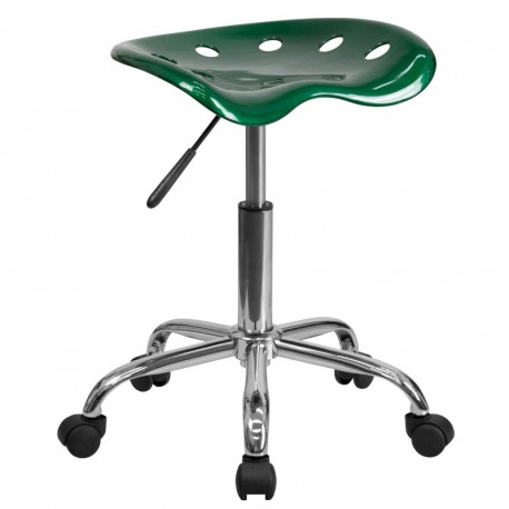 MFO Vibrant Green Tractor Seat and Chrome Stool
