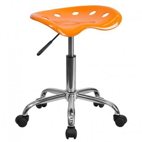 MFO Vibrant Orange Tractor Seat and Chrome Stool