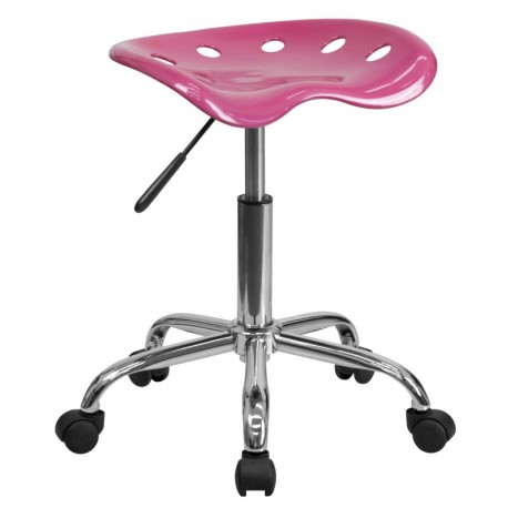 MFO Vibrant Pink Tractor Seat and Chrome Stool