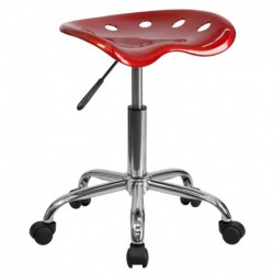 MFO Vibrant Wine Red Tractor Seat and Chrome Stool