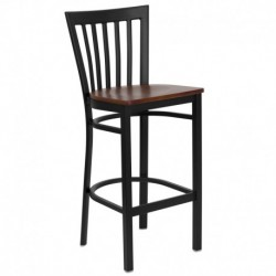 MFO Black School House Back Metal Restaurant Bar Stool - Cherry Wood Seat