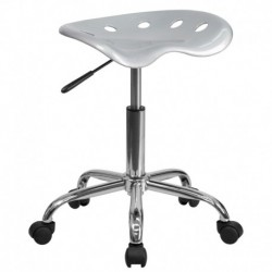 MFO Vibrant Silver Tractor Seat and Chrome Stool