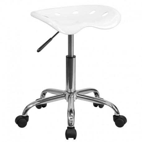 MFO Vibrant White Tractor Seat and Chrome Stool