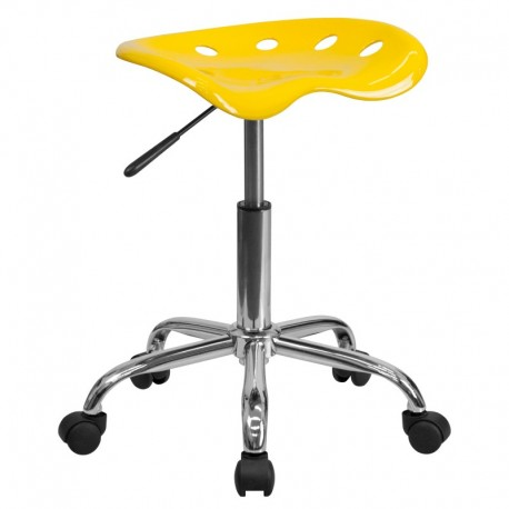 MFO Vibrant Orange-Yellow Tractor Seat and Chrome Stool