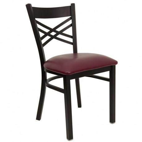 MFO Black ''X'' Back Metal Restaurant Chair - Burgundy Vinyl Seat