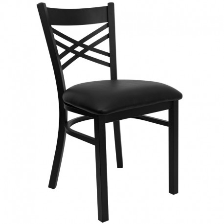 MFO Black ''X'' Back Metal Restaurant Chair - Black Vinyl Seat