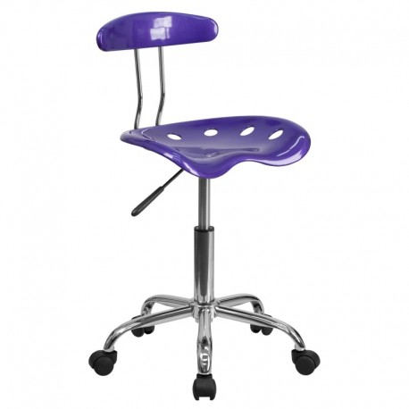 MFO Vibrant Violet and Chrome Computer Task Chair with Tractor Seat