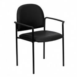 MFO Black Vinyl Comfortable Stackable Steel Side Chair with Arms