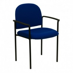 MFO Navy Fabric Comfortable Stackable Steel Side Chair with Arms
