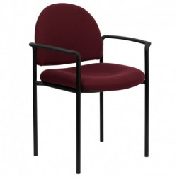 MFO Burgundy Fabric Comfortable Stackable Steel Side Chair with Arms