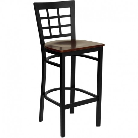 MFO Black Window Back Metal Restaurant Bar Stool - Mahogany Wood Seat