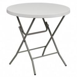 MFO 32'' Round Granite White Plastic Folding Table