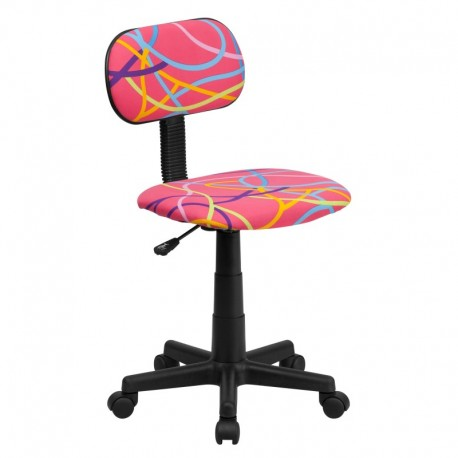 MFO Multi-Colored Swirl Printed Pink Computer Chair
