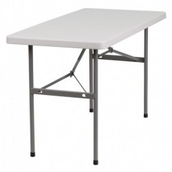 MFO 24''W x 48''L Granite White Plastic Folding Table