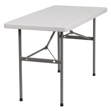 MFO 24''W x 48''L Granite White Plastic Folding Table