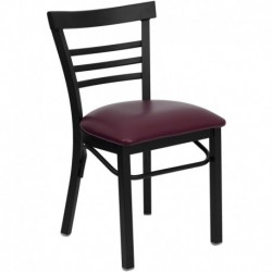 MFO Black Ladder Back Metal Restaurant Chair - Burgundy Vinyl Seat