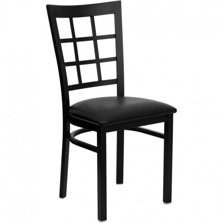 MFO Black Window Back Metal Restaurant Chair - Black Vinyl Seat