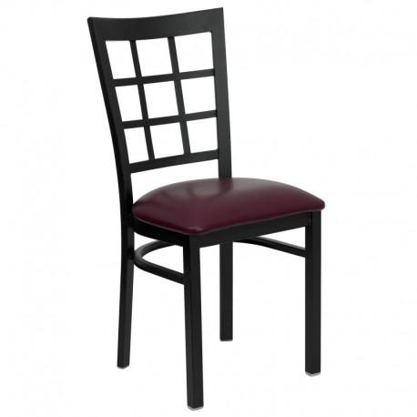 MFO Black Window Back Metal Restaurant Chair - Burgundy Vinyl Seat