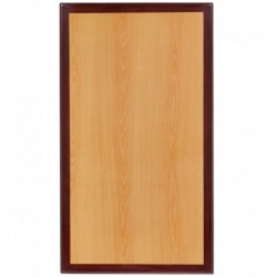 MFO 24'' x 30'' Rectangular Two-Tone Resin Cherry and Mahogany Table Top