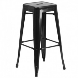 MFO 30'' Backless Black Metal Bar Stool