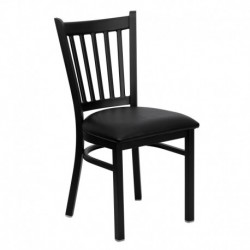 MFO Black Vertical Back Metal Restaurant Chair - Black Vinyl Seat