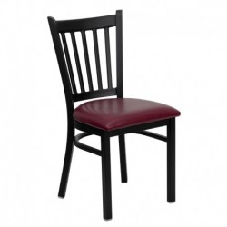 MFO Black Vertical Back Metal Restaurant Chair - Burgundy Vinyl Seat