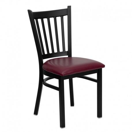 MFO Black Vertical Back Metal Restaurant Chair - Burgundy Vinyl Seat