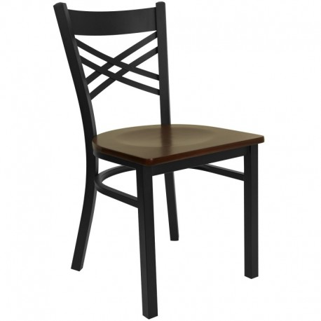 MFO Black ''X'' Back Metal Restaurant Chair - Mahogany Wood Seat