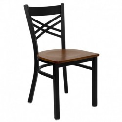 MFO Black ''X'' Back Metal Restaurant Chair - Cherry Wood Seat