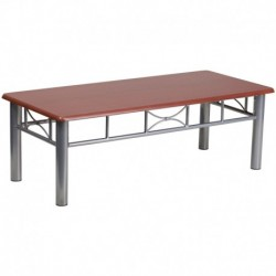 MFO Mahogany Laminate Coffee Table with Silver Steel Frame