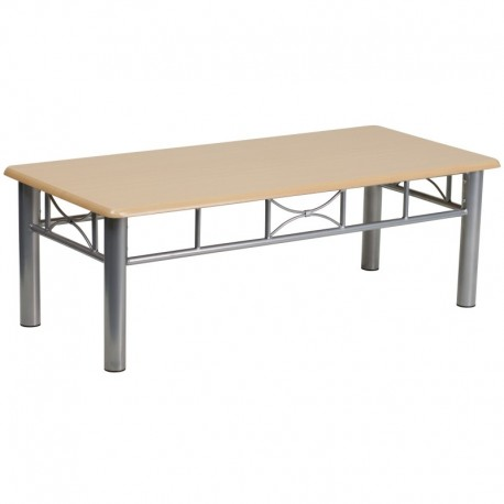 MFO Natural Laminate Coffee Table with Silver Steel Frame