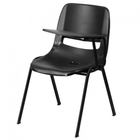 MFO Black Ergonomic Shell Chair with Left Handed Flip-Up Tablet Arm