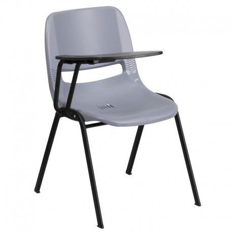 MFO Gray Ergonomic Shell Chair with Right Handed Flip-Up Tablet Arm