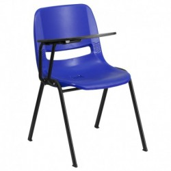 MFO Blue Ergonomic Shell Chair with Right Handed Flip-Up Tablet Arm