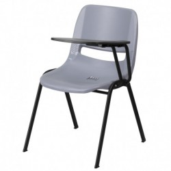 MFO Gray Ergonomic Shell Chair with Left Handed Flip-Up Tablet Arm