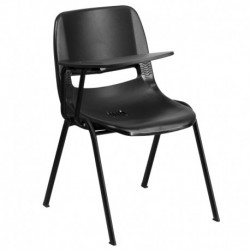 MFO Black Ergonomic Shell Chair with Right Handed Flip-Up Tablet Arm