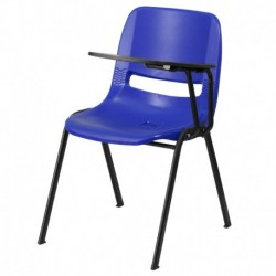 MFO Blue Ergonomic Shell Chair with Left Handed Flip-Up Tablet Arm