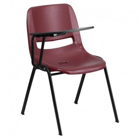 MFO Burgundy Ergonomic Shell Chair with Right Handed Flip-Up Tablet Arm