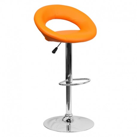 MFO Contemporary Orange Vinyl Rounded Back Adjustable Height Bar Stool with Chrome Base