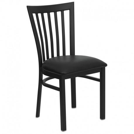 MFO Black School House Back Metal Restaurant Chair - Black Vinyl Seat