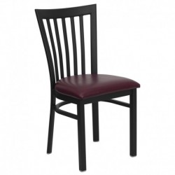 MFO Black School House Back Metal Restaurant Chair - Burgundy Vinyl Seat