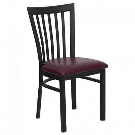 MFO Black School House Back Metal Restaurant Chair - Burgundy Vinyl Seat