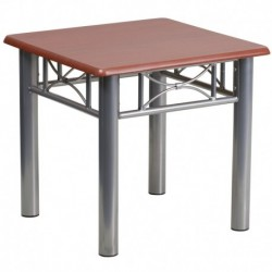 MFO Mahogany Laminate End Table with Silver Steel Frame