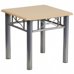 MFO Natural Laminate End Table with Silver Steel Frame