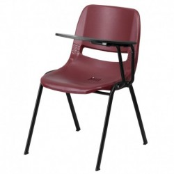 MFO Burgundy Ergonomic Shell Chair with Left Handed Flip-Up Tablet Arm