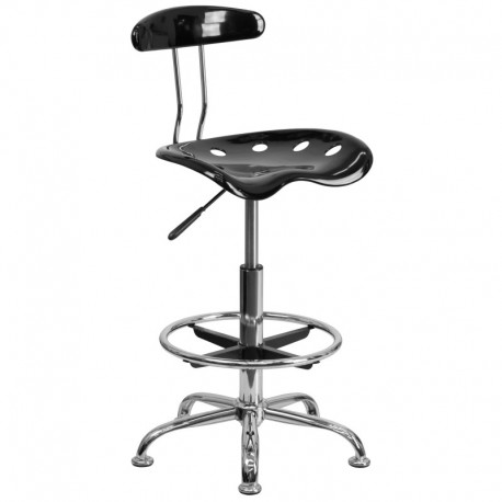 MFO Vibrant Black and Chrome Drafting Stool with Tractor Seat