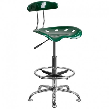 MFO Vibrant Green and Chrome Drafting Stool with Tractor Seat