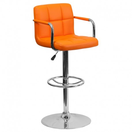 MFO Contemporary Orange Quilted Vinyl Adjustable Height Bar Stool with Arms and Chrome Base