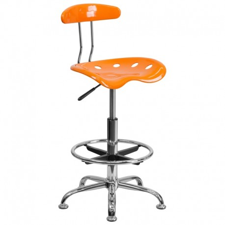 MFO Vibrant Orange and Chrome Drafting Stool with Tractor Seat
